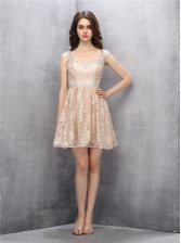Customized Straps Sleeveless Lace Knee Length Backless Dress for Prom in Champagne with Beading