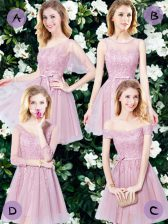 Pink Empire Sleeveless Tulle Mini Length Lace Up Appliques and Belt Dama Dress for Quinceanera