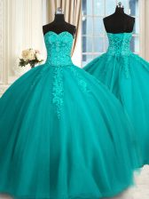 Unique Teal Ball Gowns Appliques and Embroidery Ball Gown Prom Dress Lace Up Tulle Sleeveless Floor Length