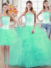 Fancy Three Piece Sleeveless Beading and Appliques and Ruffles Lace Up Quinceanera Gown