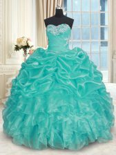 Best Selling Floor Length Ball Gowns Sleeveless Turquoise Ball Gown Prom Dress Lace Up