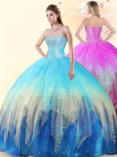 Multi-color Ball Gowns Sweetheart Sleeveless Tulle Floor Length Lace Up Beading Sweet 16 Quinceanera Dress