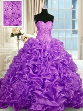 Colorful Sleeveless Sweep Train Lace Up Beading and Pick Ups 15th Birthday Dress