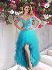 High End Off the Shoulder Teal Sleeveless High Low Beading and Ruffles Lace Up