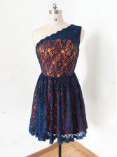 Super One Shoulder Sleeveless Zipper Knee Length Lace Prom Dresses