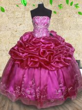Fuchsia Lace Up Quinceanera Gown Beading and Embroidery and Pick Ups Sleeveless Floor Length