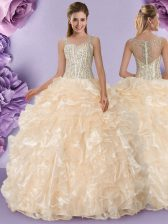 Pretty Straps Beading and Ruffles Sweet 16 Dress Champagne Zipper Sleeveless Floor Length