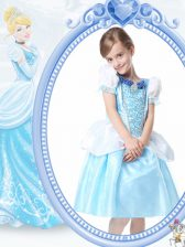 White and Blue A-line Scoop Short Sleeves Organza Knee Length Clasp Handle Beading Flower Girl Dresses