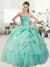 Exceptional Pick Ups Ball Gowns Sleeveless Apple Green Quinceanera Gown Lace Up
