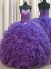 Stunning Beaded Bust Purple 15 Quinceanera Dress Military Ball and Sweet 16 and Quinceanera with Beading and Ruffles Sweetheart Sleeveless Lace Up