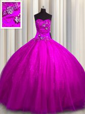 Tulle and Sequined Sweetheart Sleeveless Lace Up Beading and Appliques 15th Birthday Dress in Fuchsia