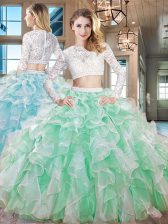 Scoop Organza Long Sleeves Floor Length 15th Birthday Dress and Beading and Lace and Ruffles