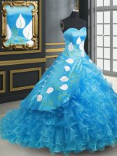 Baby Blue Lace Up Sweetheart Embroidery and Ruffled Layers 15 Quinceanera Dress Organza and Taffeta Sleeveless Brush Train