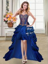 Dynamic Royal Blue Lace Up Sweetheart Beading and Appliques and Pick Ups Dress for Prom Taffeta Sleeveless