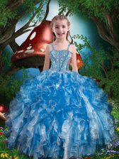 Blue Organza Lace Up Pageant Gowns For Girls Sleeveless Floor Length Beading and Ruffles