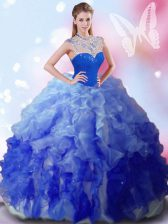 Beading and Ruffles Sweet 16 Quinceanera Dress Multi-color Zipper Sleeveless Floor Length