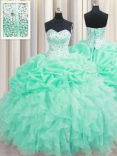 Trendy Organza Sweetheart Sleeveless Lace Up Beading and Ruffles and Pick Ups Quinceanera Dress in Apple Green