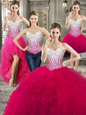 Sumptuous Four Piece Hot Pink Tulle Lace Up 15 Quinceanera Dress Sleeveless Floor Length Beading and Ruffles