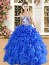 Exceptional Royal Blue Vestidos de Quinceanera Military Ball and Sweet 16 and Quinceanera with Beading and Ruffles Strapless Sleeveless Lace Up