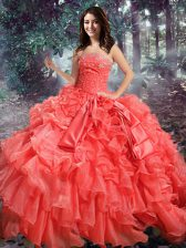 Unique Ball Gowns Sweet 16 Dress Coral Red Strapless Organza Sleeveless Floor Length Lace Up