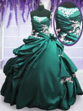 Turquoise Lace Up Ball Gown Prom Dress Appliques and Pick Ups Sleeveless Floor Length