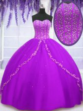 Purple Sweet 16 Dresses For with Beading and Sequins Sweetheart Sleeveless Lace Up