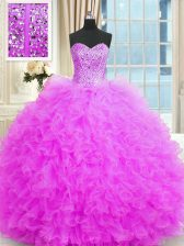 Popular Beading and Ruffles 15th Birthday Dress Lilac Lace Up Sleeveless Floor Length