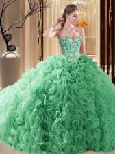 Turquoise Sleeveless Court Train Embroidery and Ruffles Sweet 16 Quinceanera Dress