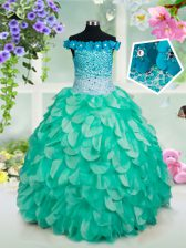 Classical Off the Shoulder Turquoise Sleeveless Organza Lace Up Pageant Gowns For Girls for Quinceanera and Wedding Party