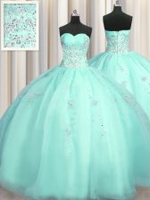 Really Puffy Turquoise Sleeveless Beading and Appliques Floor Length Quince Ball Gowns