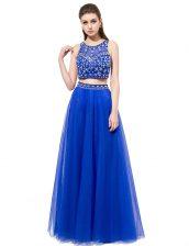 Custom Designed Scoop Sleeveless Prom Gown Floor Length Beading Royal Blue Tulle