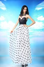 Dynamic Chiffon Halter Top Sleeveless Side Zipper Beading and Sequins and Ruching Dress for Prom in White And Black