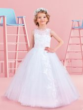 Adorable Scoop Tulle Sleeveless Floor Length Toddler Flower Girl Dress and Appliques