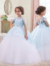 White and Blue Little Girls Pageant Dress Quinceanera and Wedding Party with Appliques and Sashes ribbons Bateau Sleeveless Lace Up