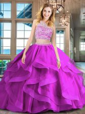 Affordable Scoop Sleeveless With Train Beading and Ruffles Backless Vestidos de Quinceanera with Fuchsia Brush Train