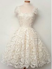 Inexpensive Scoop White Lace Zipper Prom Gown Cap Sleeves Knee Length Lace