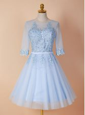 Exceptional Scoop Light Blue A-line Appliques Backless Organza Half Sleeves Knee Length