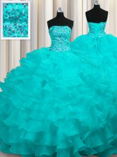 Best Aqua Blue Lace Up Ball Gown Prom Dress Beading and Ruffles Sleeveless With Train Sweep Train