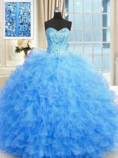 Baby Blue Sleeveless Tulle Lace Up Quinceanera Dress for Military Ball and Sweet 16 and Quinceanera