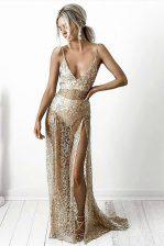 Champagne Spaghetti Straps Neckline Lace Evening Dress Sleeveless Backless