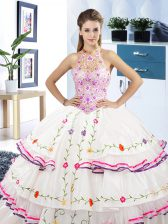 White Quinceanera Dresses Military Ball and Sweet 16 and Quinceanera with Embroidery and Ruffled Layers Halter Top Sleeveless Lace Up