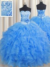 Handcrafted Flower Baby Blue Lace Up Quinceanera Dresses Beading and Ruffles and Hand Made Flower Sleeveless Floor Length