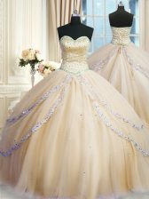 New Arrival Champagne Sweet 16 Dress Military Ball and Sweet 16 and Quinceanera with Beading and Appliques Sweetheart Sleeveless Court Train Lace Up