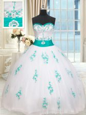 Dynamic Tulle Sleeveless Floor Length 15th Birthday Dress and Beading and Appliques