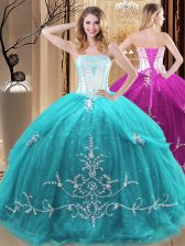Unique Sleeveless Embroidery Lace Up Quinceanera Dresses