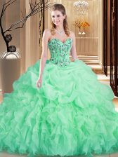 Apple Green 15th Birthday Dress Organza Brush Train Sleeveless Embroidery and Ruffles