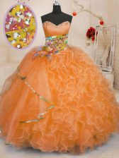 Affordable Orange Lace Up Ball Gown Prom Dress Beading and Ruffles Sleeveless Floor Length