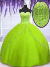 Attractive Yellow Green Sleeveless Tulle Lace Up Sweet 16 Quinceanera Dress for Military Ball and Sweet 16 and Quinceanera