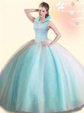 Discount Floor Length Aqua Blue Quinceanera Gowns High-neck Sleeveless Backless