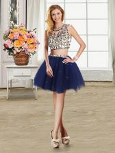 Top Selling Scoop Tulle Cap Sleeves Mini Length Prom Party Dress and Beading
